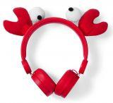 Слушалки с магнитни уши и очи на рак Chrissy Crab, жак 3.5mm, 85dB, 1.2m, червени, HPWD4000GY, NEDIS