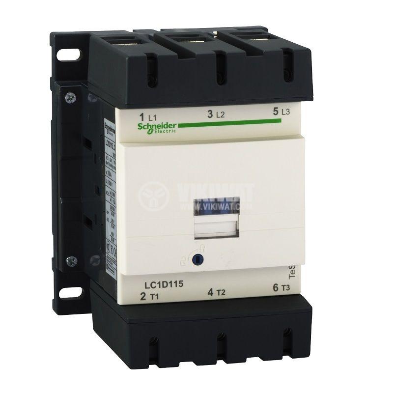 Контактор LC1D115P7 3-полюсен 3xNO 115A 230V помощни контакти NO+NC
