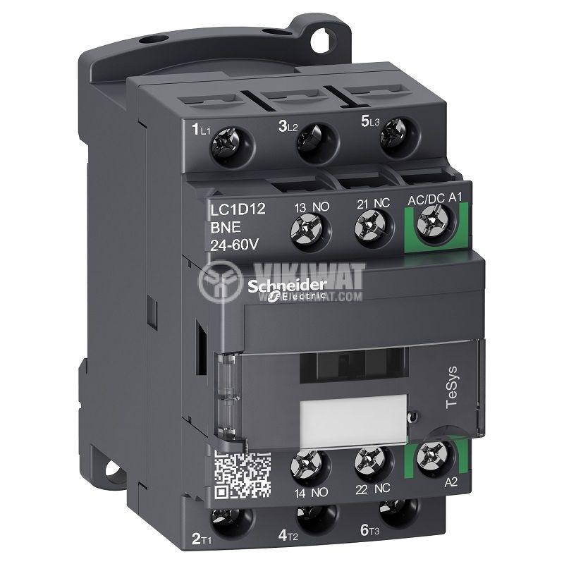 Контактор LC1D12BNE 3-полюсен 3xNO 12A 24~60V NO+NC