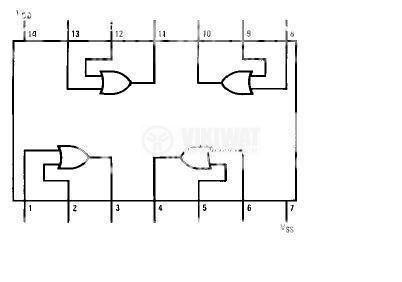 Интегрална схема 4071, CMOS, Quad 2-Input OR Buffered B Series Gate, DIP14 - 2