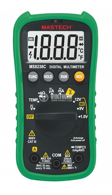 Digital multimeter MS8238C, LCD(2000), Vdc/Vac/Adc/Aac/Ohm/C - 1