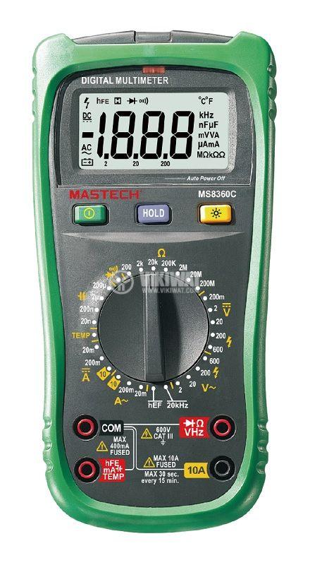 Цифров мултиметър MS8360C, LCD(2000), Vdc/Vac/Adc/Aac/Ohm/F/Hz/°C  - 1