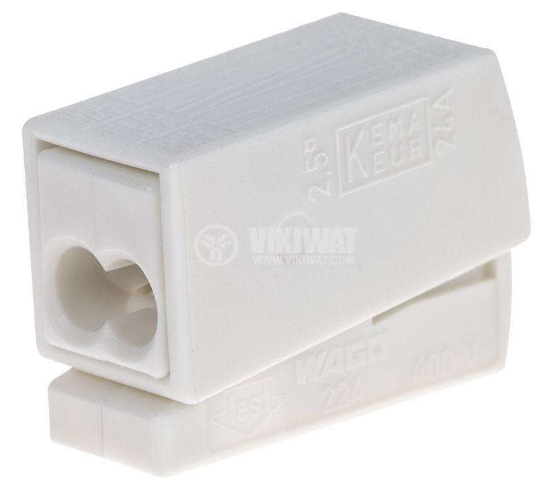Клема 0.5-2.5 mm2, бяла, за освeтително тяло - 3