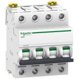 Предпазител автоматичен, четириполюсен, 4A, C крива, 400VAC, DIN шина, A9F74404, Schneider