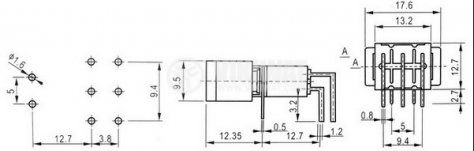 Клавишен превключвател rocker KRLS-203-A3, 3 A/250 VAC, 6 А/125 VAC, DPDT, ON-OFF-ON ,черен - 4