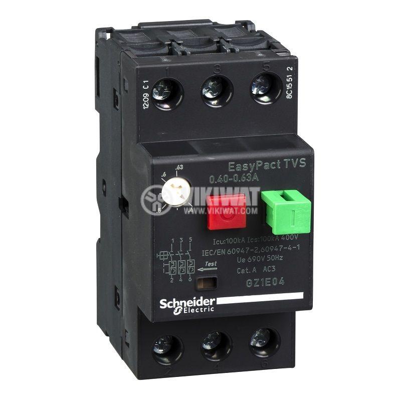 Моторна защита термо-магнитна 0.4~0.63A GZ1E04 Schneider