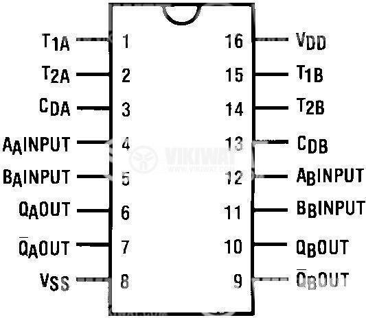 Интегрална схема 4538, CMOS, Dual precision monostable multivibrator, DIP16 - 2