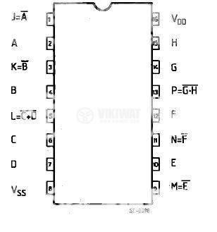 Интегрална схема 4572, CMOS, HEX GATE, DIP16 - 2