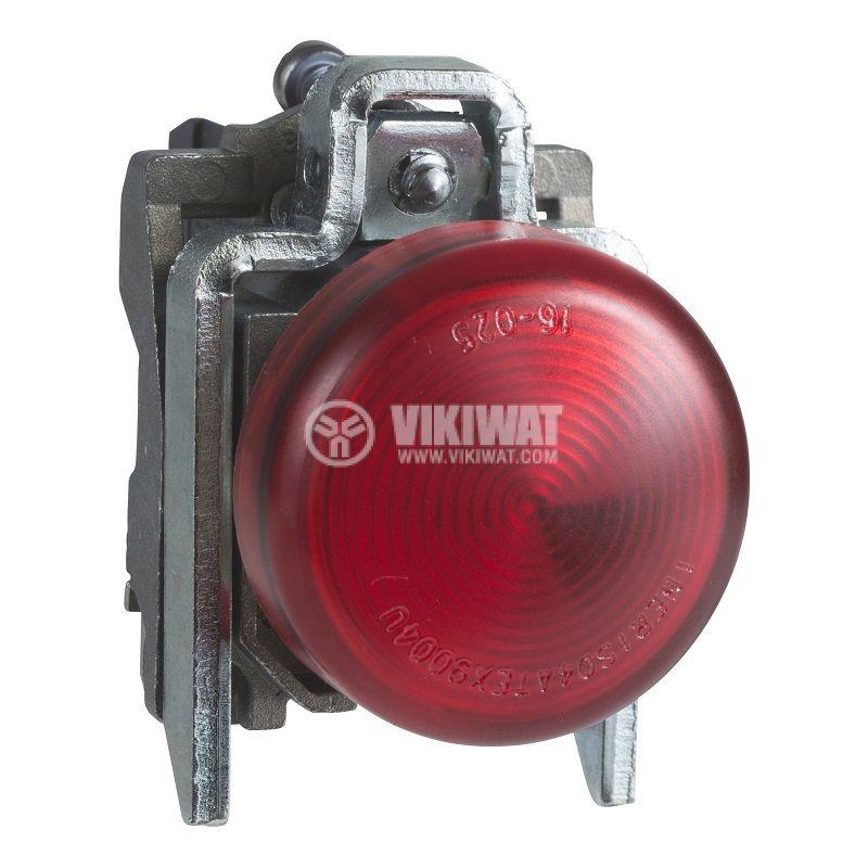 Индикаторна лампа, глим, XB4BV64, 230VAC, червена, ф22mm