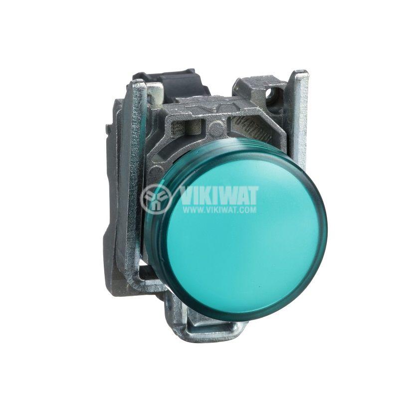 Индикаторна лампа, LED, XB4BVG3, 110VAC, зелена, ф22mm