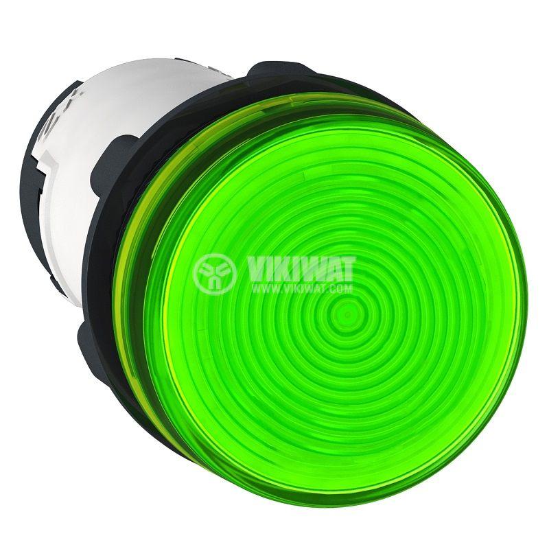 Индикаторна лампа, глим, XB7EV73P, 230VAC, зелена, ф22mm