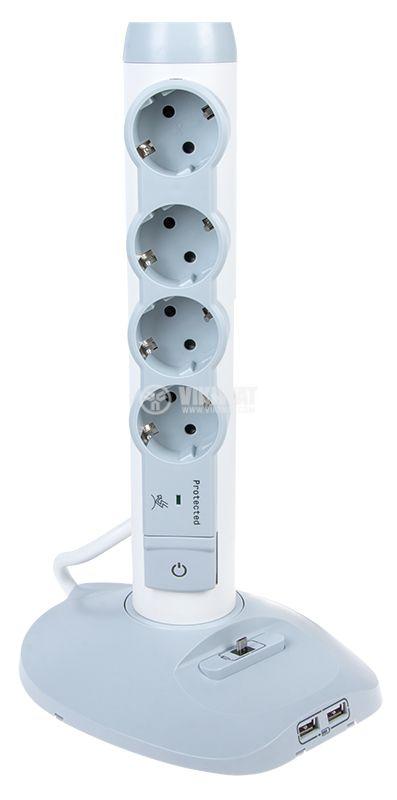 Разклонител 4 гнезда шуко 2 USB порта MicroUSB порт кабел 2m бял/сив LEGRAND 694614 - 1