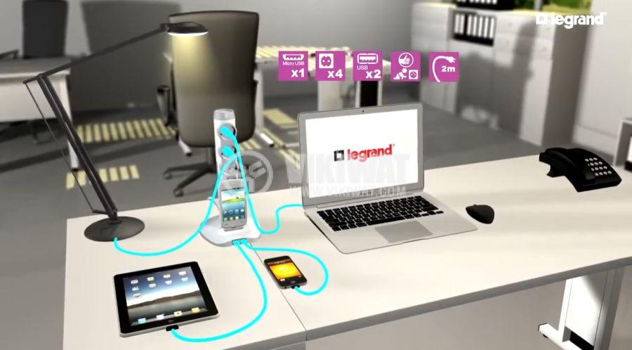 Разклонител колона 4 гнезда, 2 USB порта, MicroUSB порт, 2m кабел, черен, LEGRAND 694619 - 5