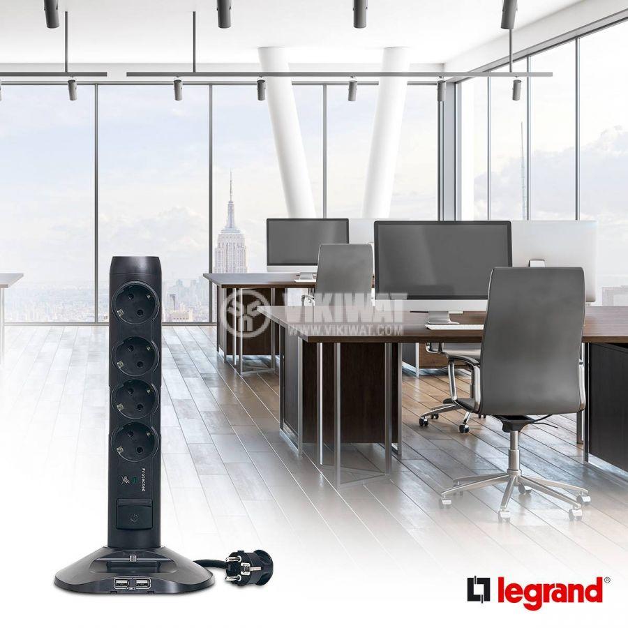 Разклонител - колона 4-ка, 2 USB порта, MicroUSB порт, 2m кабел, черен, LEGRAND 694619 - 2