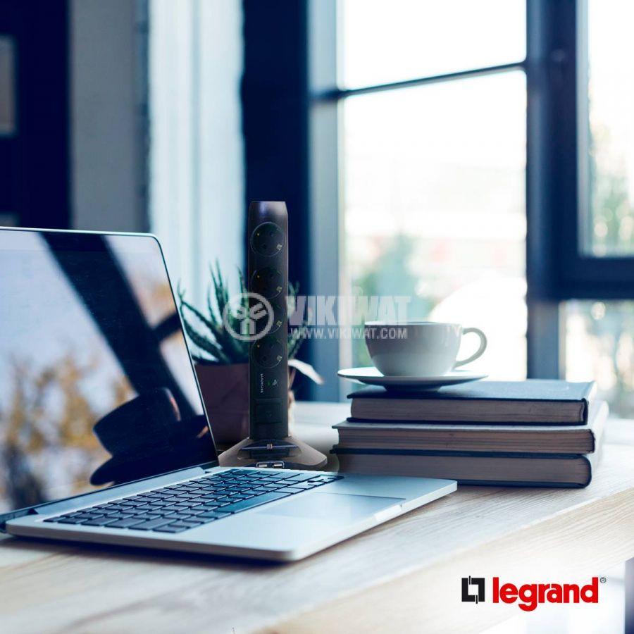 Черен разклонител колона с USB легранд legrand 694619, 4 гнзда тип шуко, 2 USB порта, 2 micro USB, 2 метра кабел - 7