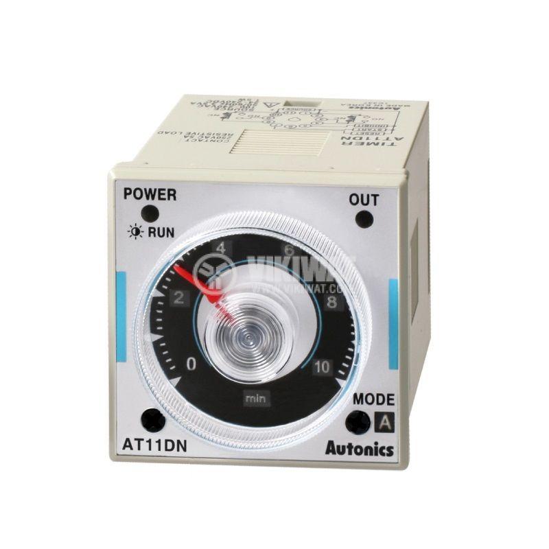 Реле за време AT11DN, 100~240VAC, закъснение вкл./изкл., 0.05s~100h, 5A/250VAC, 2xNO+2xNC - 1