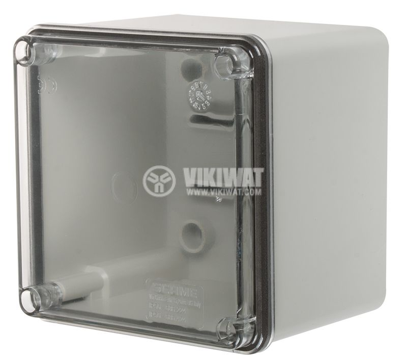 Junction box 686.424 100x100x80mm gray with transparent lid IP56 - 1