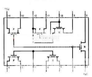 Интегрална схема 4007, CMOS, Dual Complementary Pair Plus Inverter, DIP14 - 2