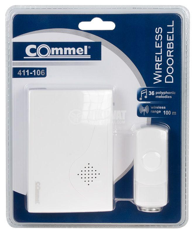 Wireless doorbell Commel 411-106 230V 70dB white