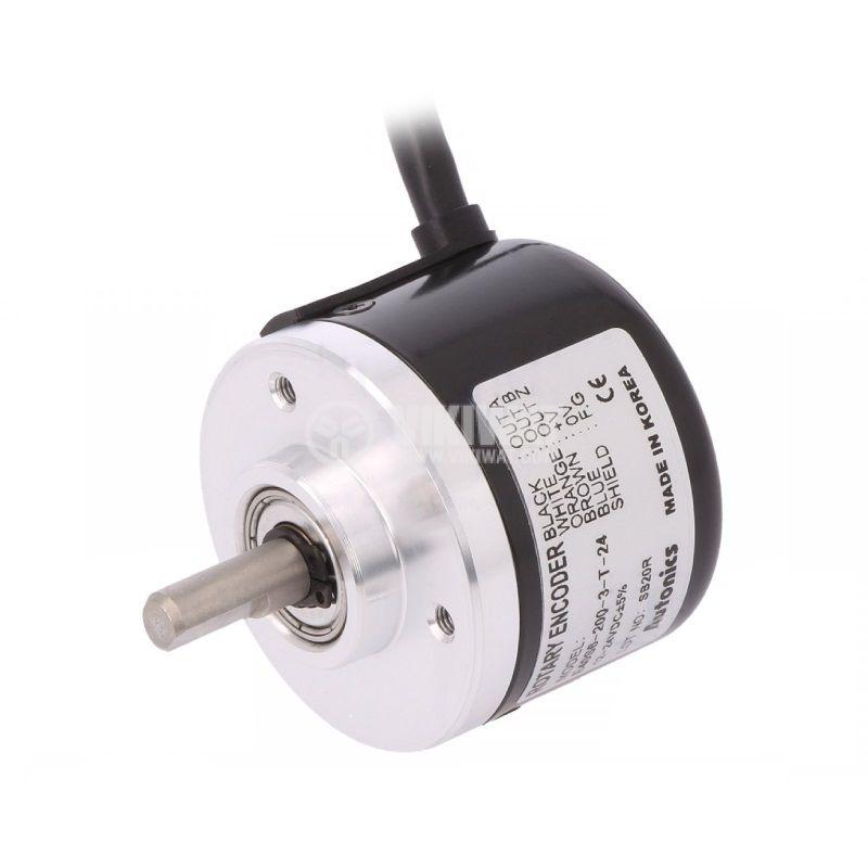 Енкодер инкрементален, 12~24VDC, 200имп./об, ф6mm, E40S6-200-3-T-24