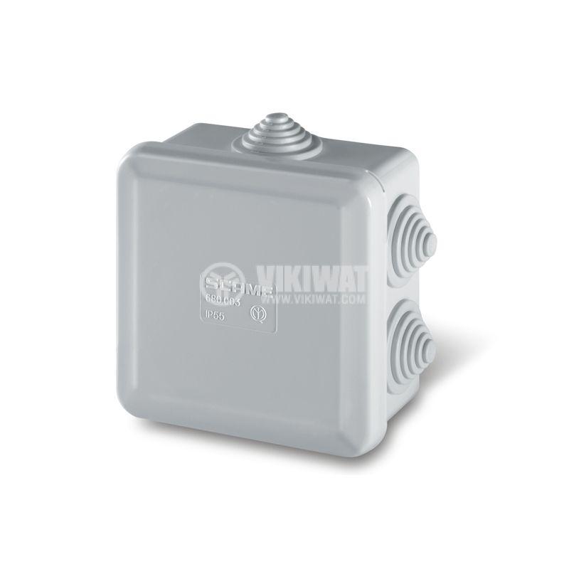 Универсална разклонителна кутия 680.003 за стенен монтаж 80x80x40mm инженерна пластмаса