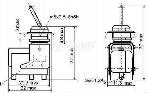 ЦК ключ MT-1, 4А/250VAC, SPDT, ON-ON - 2
