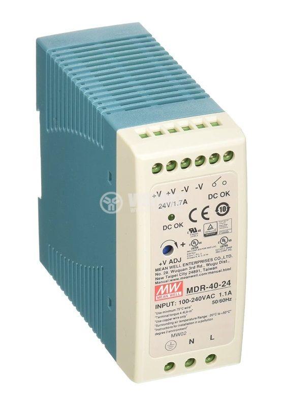 Захранване 1.7A/124VDC, 40W, MDR-40-24