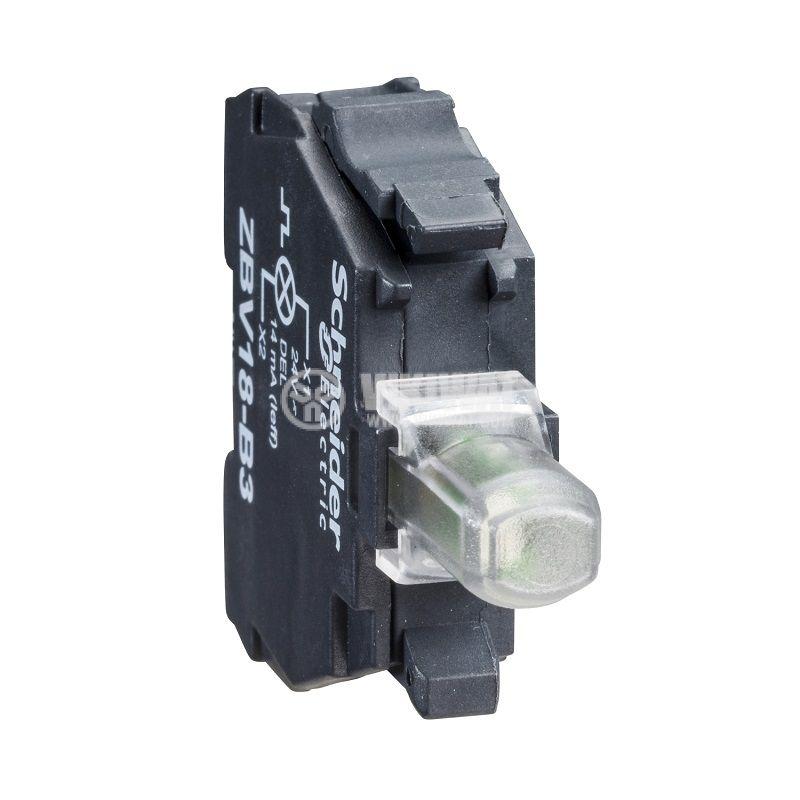 Индикаторна лампа, LED, ZBV18B1,24VAC/VDC, бял, отвор ф22mm, мигаща - 1