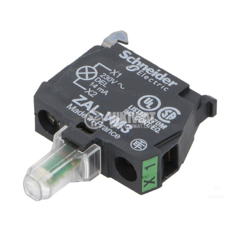 Индикаторна лампа, LED, ZALVM3, 230~240VAC, зелен, отвор ф22mm - 1
