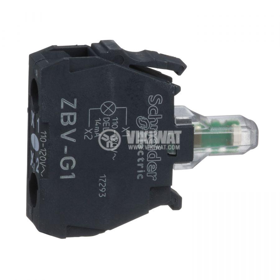 Индикаторна лампа, LED, ZBVG1, 110~120VAC, бял, отвор ф22mm - 1