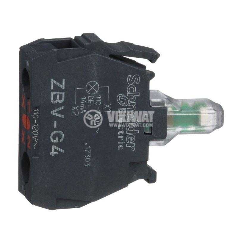 Индикаторна лампа, LED, ZBVG4, 110~120VAC, червен, отвор ф22mm - 1
