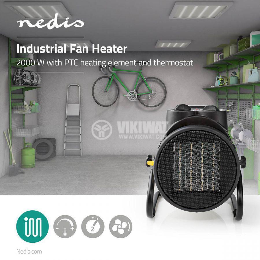 Керамична вентилаторна печка 1000/2000W 220V 1.5m IP24 черна/жълта HTIF20FYW NEDIS - 8