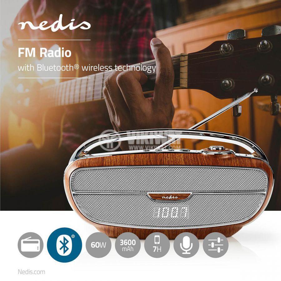 Ретро радио RDFM5310BN, преносимо, FM/Bluetooth/MicroSD/USB/AUX, 60W, 3600mAh - 7