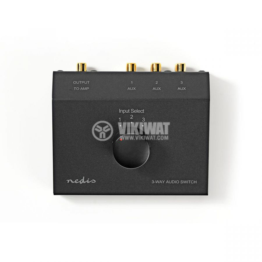 Аудио превключвател троен 3x(2xRCA/f) - 2xRCA/f черен ASWI2403BK - 1