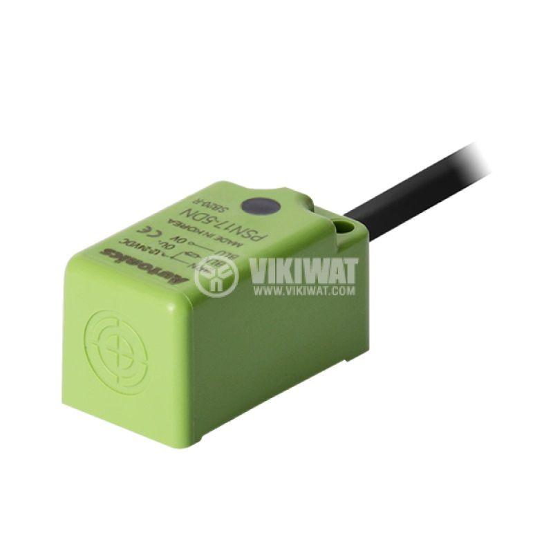 Индуктивен датчик PSN17-5DN, 10~30VDC, NPN, NO, 5mm, 18x18x35.6mm, екраниран - 1