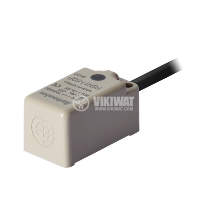 Индуктивен датчик PSN17-5DP, 10~30VDC, PNP, NO, 5mm, 18x18x35.6mm, екраниран - 1