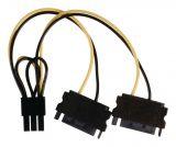 Power cable 2xSATA 15-Pin/m - PCI Express/f 6pin 150mm VLCP74205V015