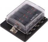 Държач за автопредпазители с капак и 10 гнезда, SCI R3-76-01-3L110, 32VDC/30A
