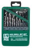 Комплект 19 спираловидни свредла, T 35000, HSS TROY, за метал