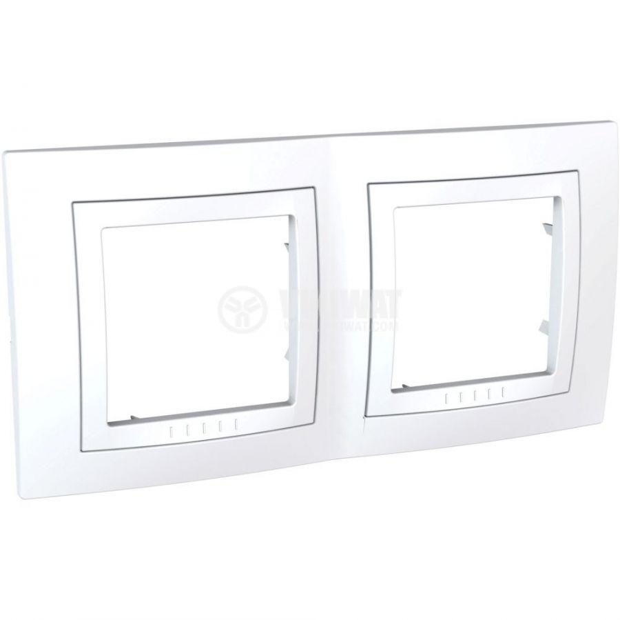 Хоризонтална рамка, Schneider, Unica Basic, две гнезда, цвят бял, MGU2.004.18