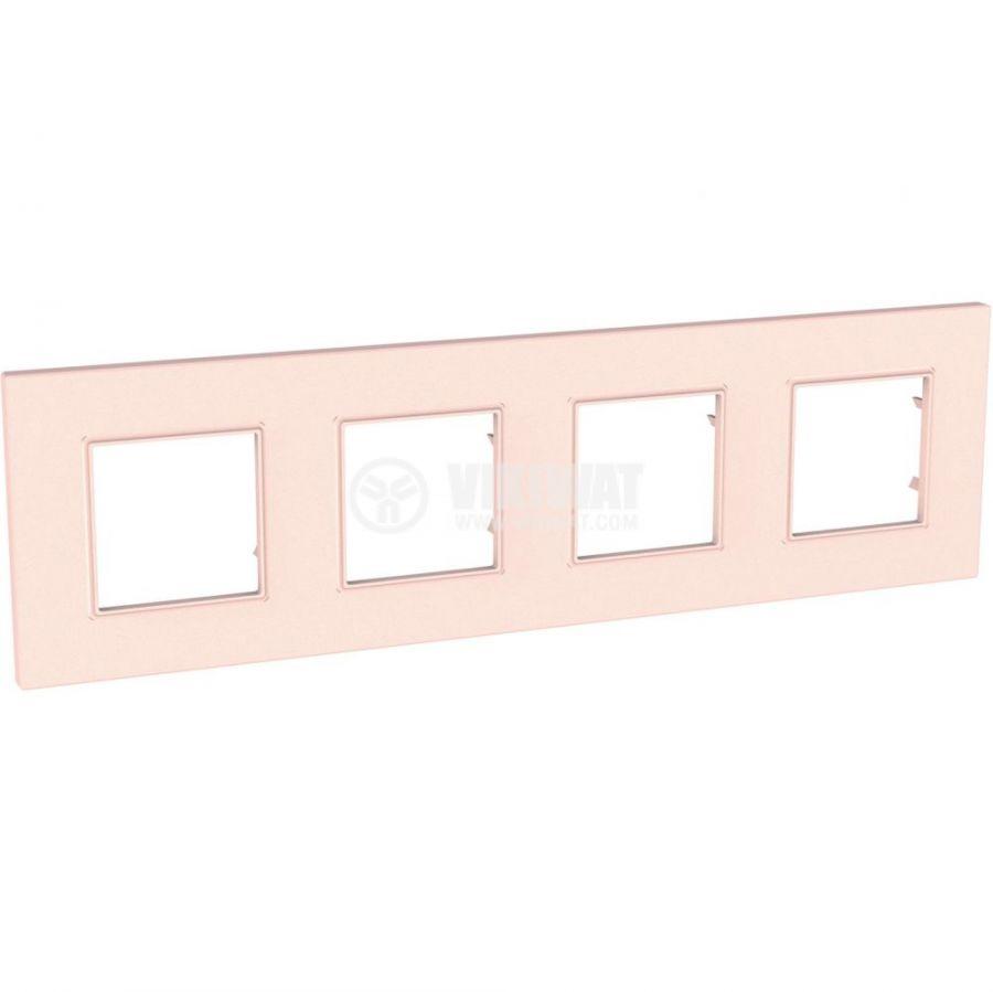 Хоризонтална рамка, Schneider, Unica Quadro, четири гнезда, цвят сьомга, MGU4.708.37