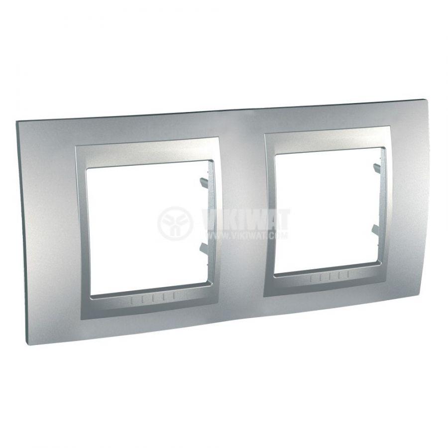 Хоризонтална рамка, Schneider, Unica Top, две гнезда, цвят алуминий, MGU6.004.30