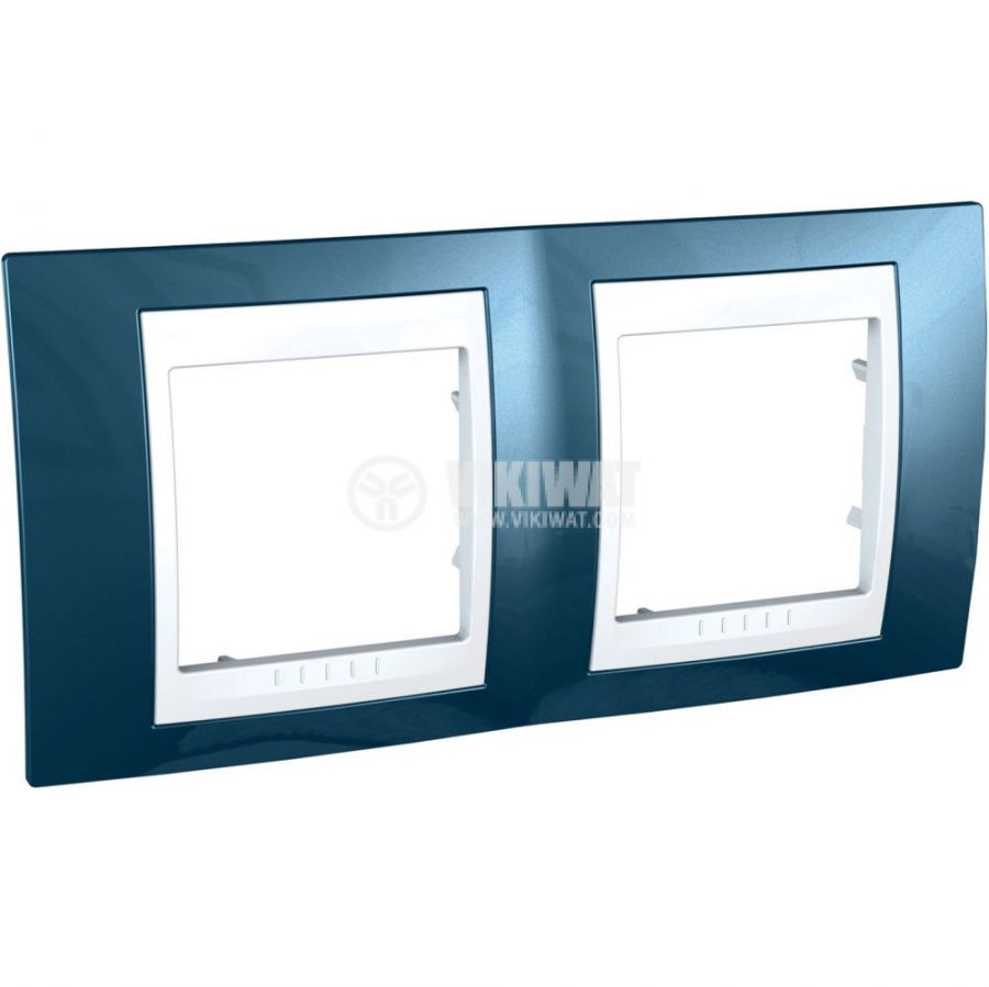 Хоризонтална рамка, Schneider, Unica Plus, две гнезда, цвят ледено син, MGU6.004.854