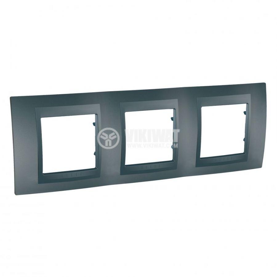 Хоризонтална рамка, Schneider, Unica Top, три гнезда, цвят графит, MGU6.006.12