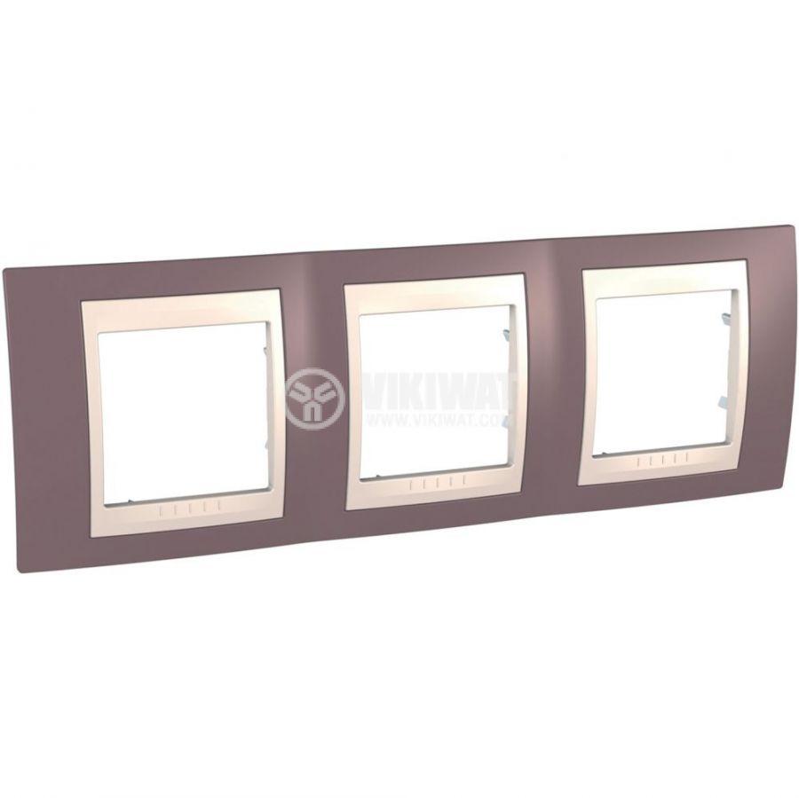 Хоризонтална рамка, Schneider, Unica Plus, три гнезда, цвят бледоморав, MGU6.006.576