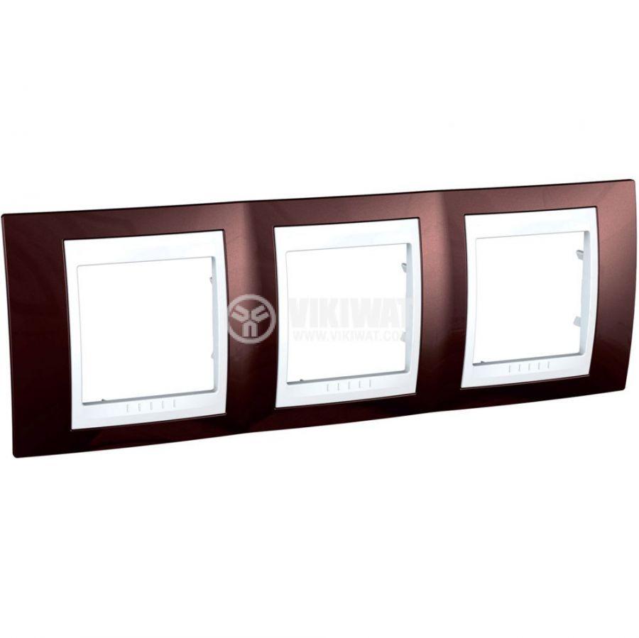 Horizontal frame, Schneider, Unica Plus, 3-gang, terracotta color, MGU6.006.851