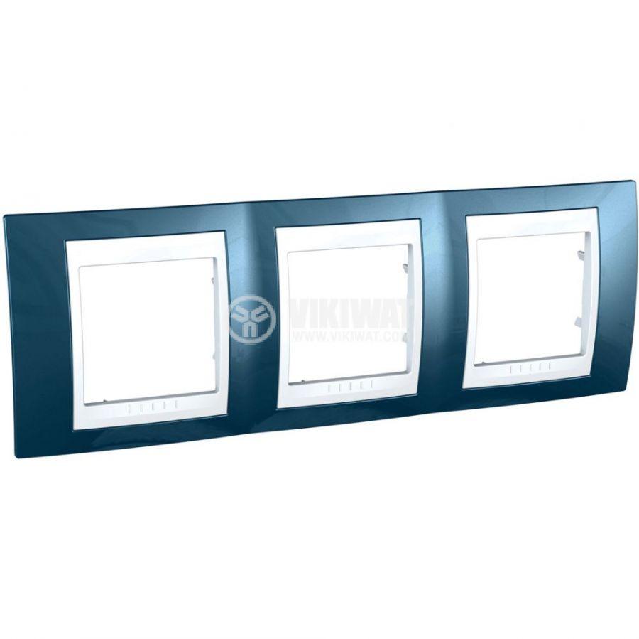 Хоризонтална рамка, Schneider, Unica Plus, три гнезда, цвят ледено син, MGU6.006.854