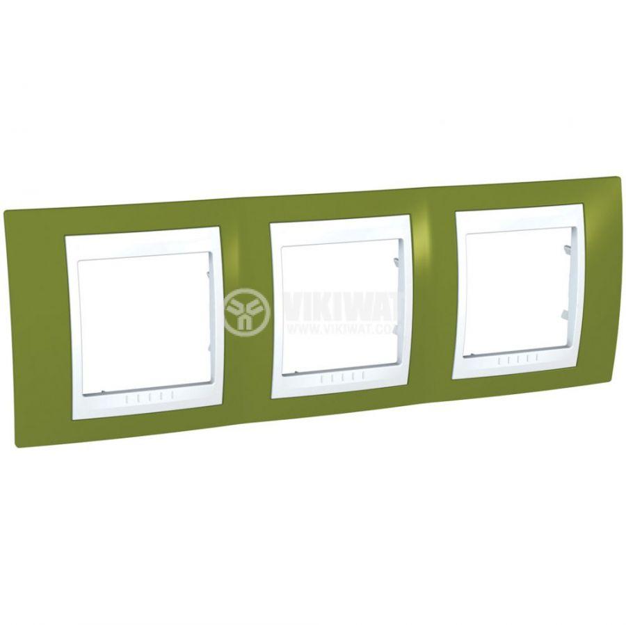 Хоризонтална рамка, Schneider, Unica Plus, три гнезда, цвят ярко зелен, MGU6.006.866