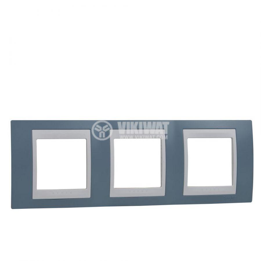Хоризонтална рамка, Schneider, Unica Plus, три гнезда, цвят светло син, MGU6.006.873