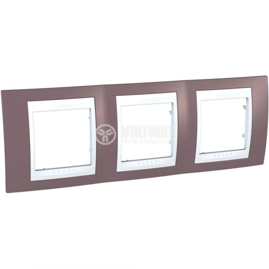 Хоризонтална рамка, Schneider, Unica Plus, три гнезда, цвят бледоморав, MGU6.006.876
